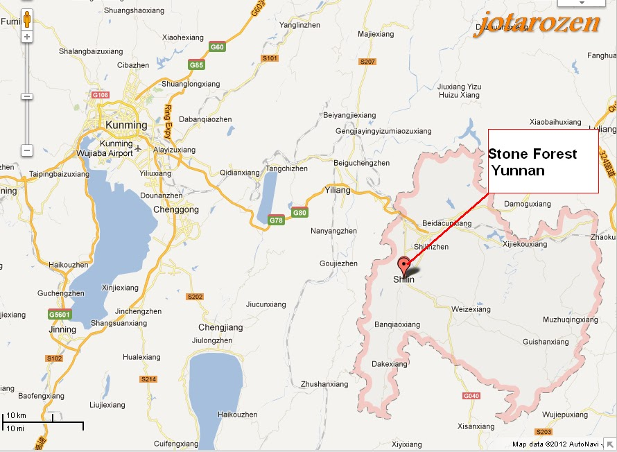 Map Of The Stone Forest In Kunming Yunnan Adventure Travel